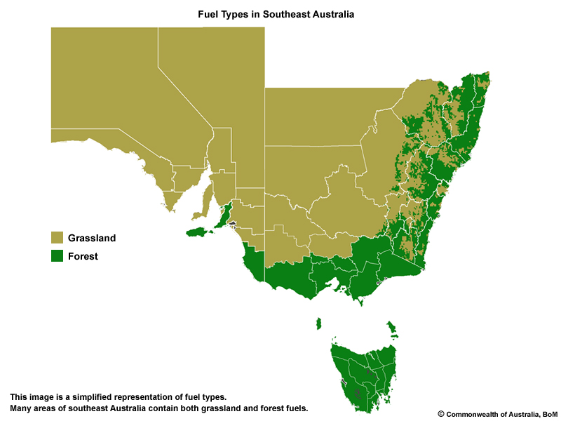 Map South East Australia.Fire Weather Patterns In Australia Southeast Australia